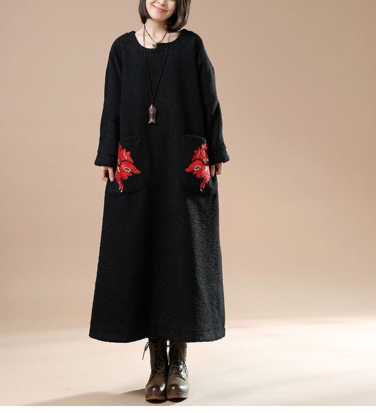 Осень плюс размер вокруг шеи длинным рукавом шерстяная куртка Вышитые вскользь платье