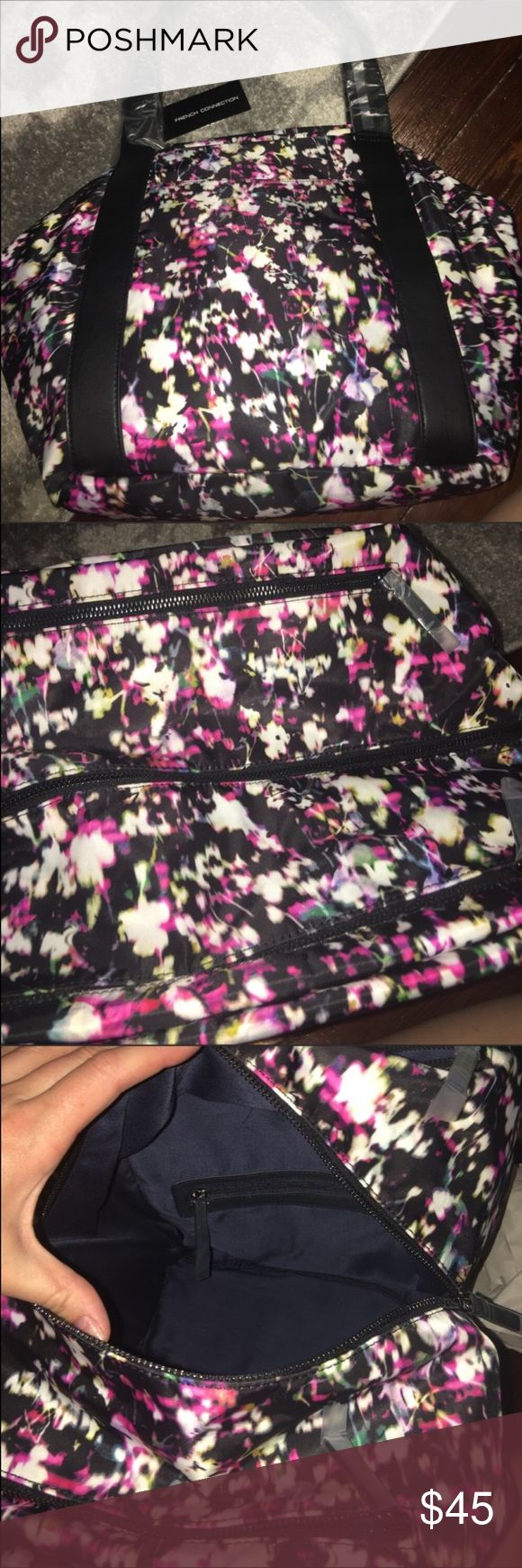 """French Connection Janice tote in midnight bloom Gorgeous tote! 18"""" wide and 12.5"""" high and 6 5/8"""" deep. Two top pockets, front and back pocket and two interior pockets provide lots of room French Connection Bags Totes"""