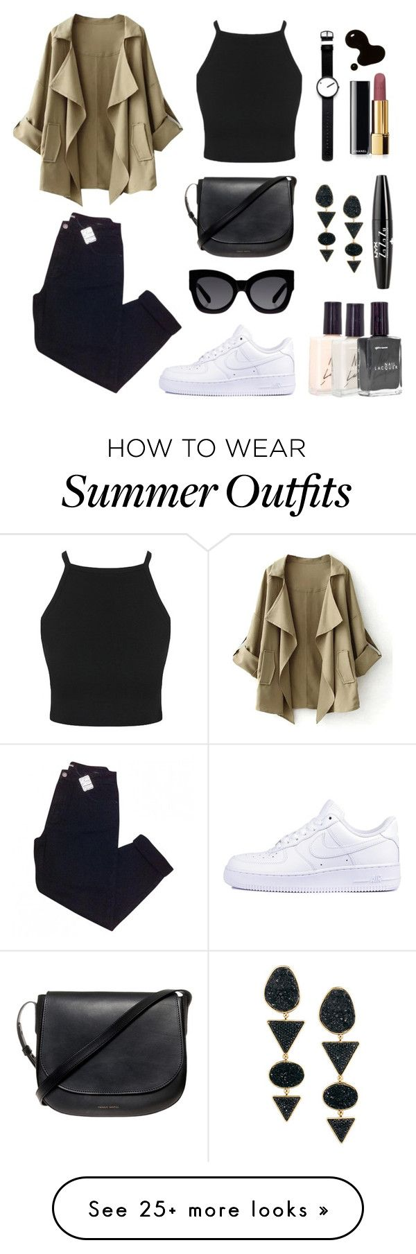 """""""Untitled #215"""" by lilymadelyn on Polyvore featuring NIKE, Mansur Gavriel, Urban Outfitters, Karen Walker, Rosendahl, American Apparel, H&M, Chanel and NYX"""