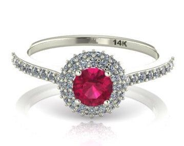 Natural RUBY Engagement Ring, Diamond halo rings, Round double halo ring, Natural Diamonds Classic Wedding Ring, Genuine stones classic ring by BridalRings on Etsy https://www.etsy.com/listing/223558623/natural-ruby-engagement-ring-diamond