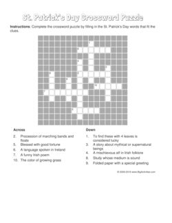 St. Patrick's Day crossword puzzle that changes each time you visit.