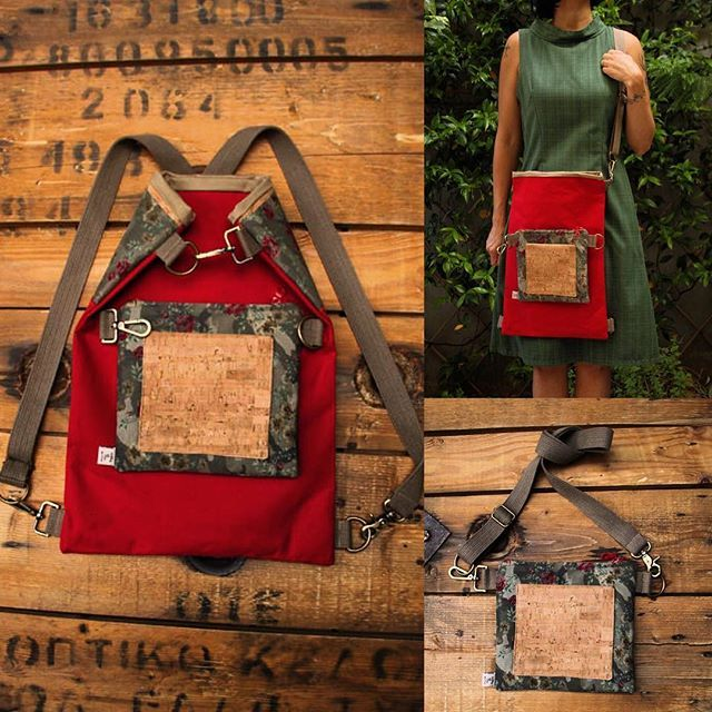 """Military look with red roses! a 4ways to wear it bag with detachable part that gives the opportunity to wear it in 4 different ways, by """"Eating the Goober"""""""
