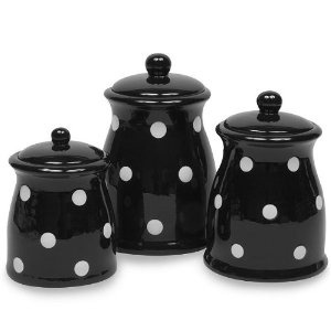 kitchen canister sets black terramoto ceramic polka dots canister set 19290
