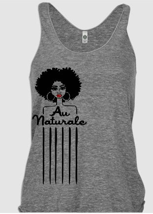 "////PRE-ORDER ITEM////""AU NATURAL"" is one of my fav designs. If you follow me on instagram (@Yolanda Renee) you know I always have an afro pick to style my hair. So I turned my afro pick into a dope, girlie, natural hair tee design.One of our softest and most smooth tank-tops is a great choice for anybody looking for a lightweight shirt for the warmer months. This product features generously cut arm openings and a slim racerback style. The tri-blend means that i..."