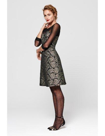 Mesh jurk met jacquard rok Goud