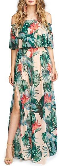 Show Me Your Mumu Hacienda Convertible Off The Shoulder A-Line Gown $172 At Nordstrom Ruffled bodice overly elasticized neckline on or off shoulders or tube dress comfy wrinkle resistant https://api.shopstyle.com/action/apiVisitRetailer?id=523447160&pid=uid841-37799971-81