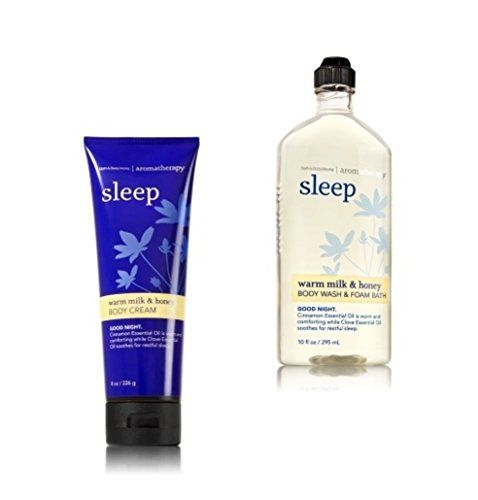 Bath and Body Works - Aromatherapy - Enhances Sleep - Warm Milk & Honey - Body Wash & Foam Bath & Body Cream - Bundle