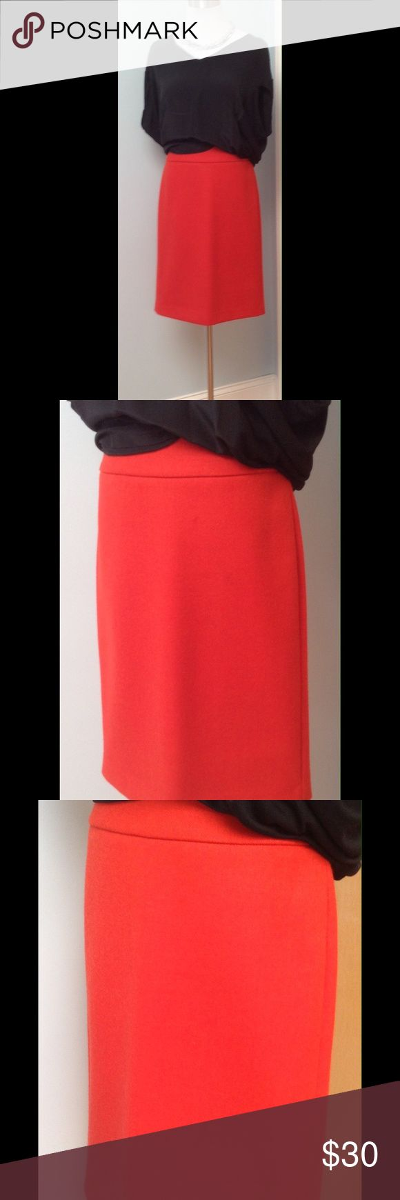 J. CREW CLASSIC WOOL PENCIL TOMATO RED SZ 2 Gorgeous wool pencil skirt in an eye popping red, a bit too bright for my conservative day job. In EUC dry cleaned and not worn since. warm high quality piece that will never go out of style. Smoke free home, pet friendly but no pets in closet. Please ask questions. Sorry no trades ever. J. Crew Skirts Midi