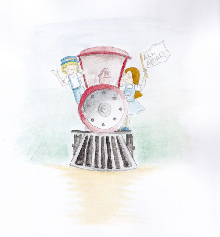 Week 13 : Transport  Harry Webbling is addicted to steam trains, he absolutely loves them so that was the natural choice with this illustration.   Watercolour and pencil xxx: