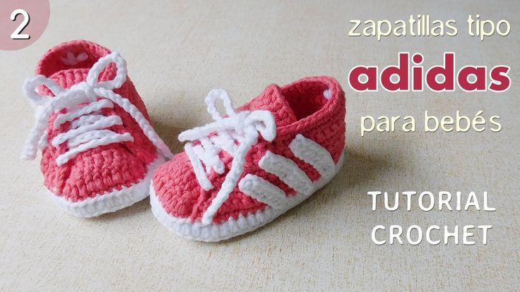 Zapatillas Adidas a crochet para bebé (Parte 2 de 2)                                                                                                                                                     Más