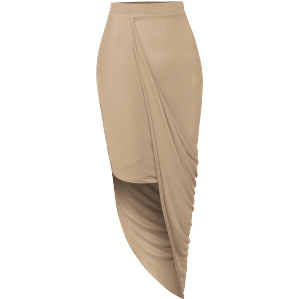 LE3NO Womens Asymmetrical Banded Waist Wrap Cut Out Hi Low Maxi Skirt ($12) ❤ liked on Polyvore featuring skirts, high low skirt, brown skirt, sexy maxi skirt, sexy skirt and asymmetrical maxi skirt