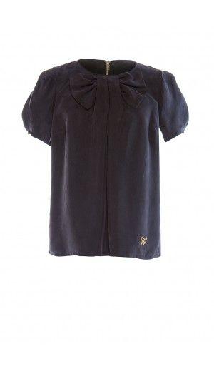 Camicia in cupro con fiocco sul davanti