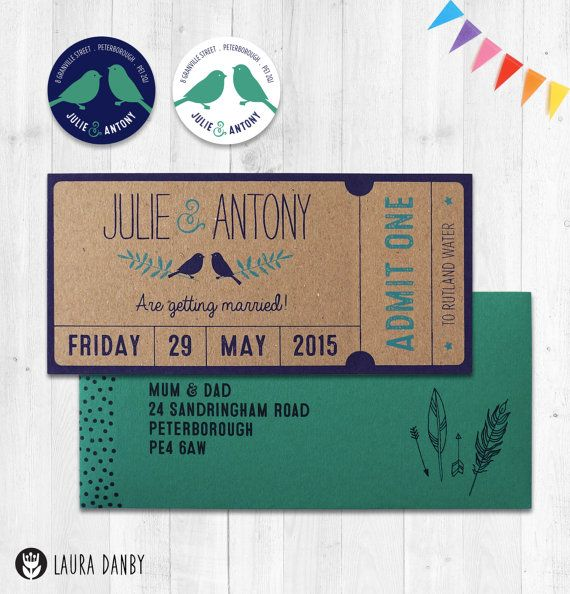 Ticket Wedding Invitations Admit One Woodland Save the Date