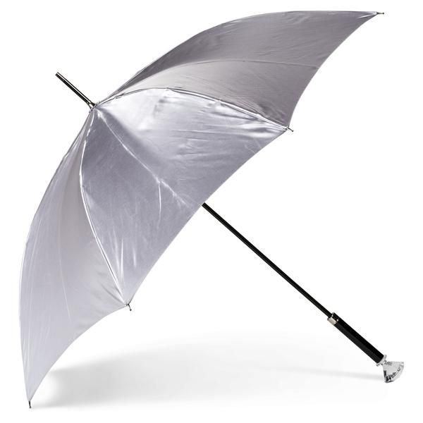 Feel just like Zsa Zsa Gabor with this elegant silver satin umbrella! Features a crystal gem handle to add a touch of luxury and class to your style this season!