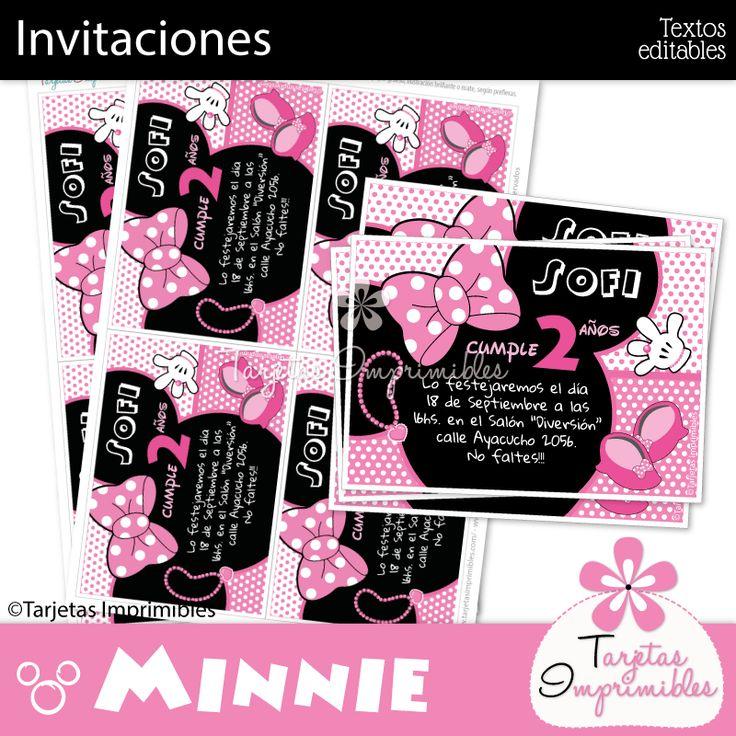 Invitaciones Minnie Mouse rosa para imprimir