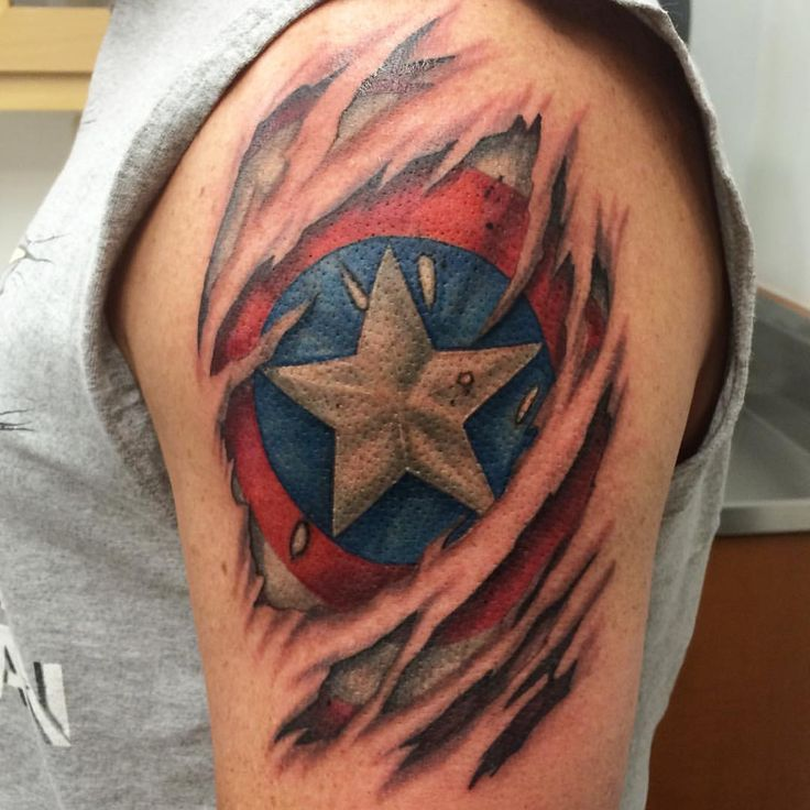 Atomic Lotus Tattoo - Sweet, Captain America skin tear to ...