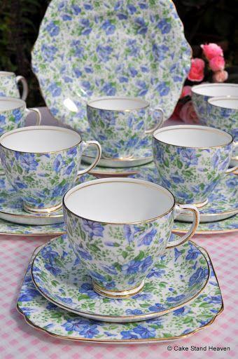 Vintage Blue and Green Chintz China Tea Set Cake Plate