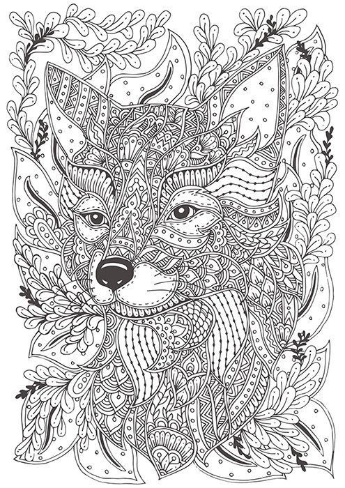 Hand-drawn fox for coloring | Fox coloring page, Animal ...