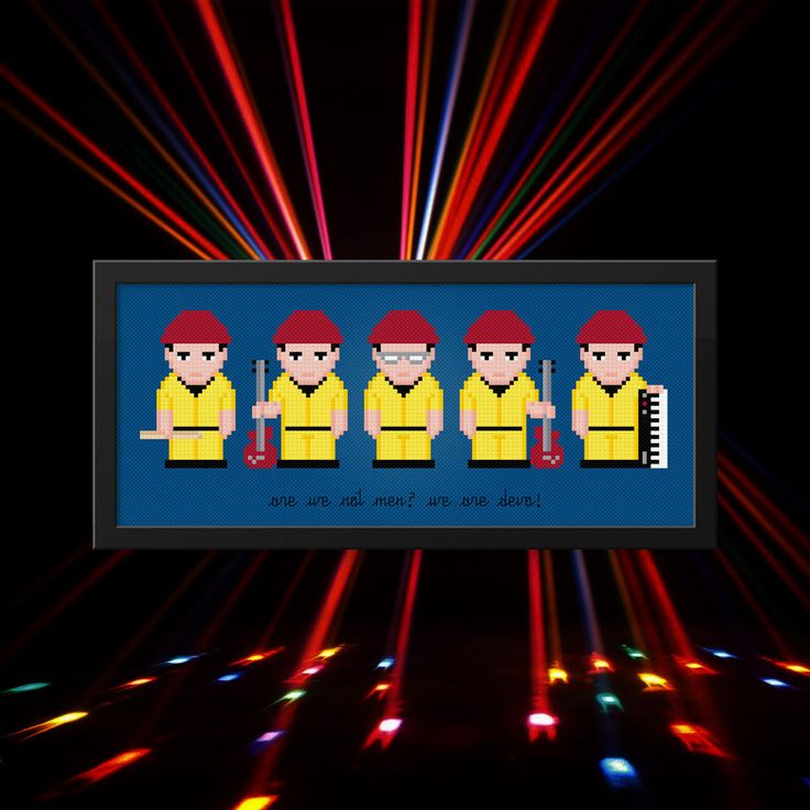 Devo Modern Cross Stitch Pattern | Cool Cross Stitch Charts | Rock Band Cross Stitch | Song Cross Stitch | Musicians | DIY Gift For Devo Fan This is a digital PDF file of a cross stitch pattern. You will need to have a PDF reader (like Adobe Reader) to view or print the pattern.