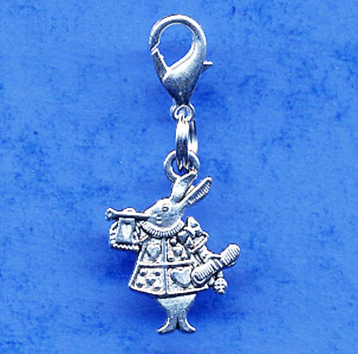 White Rabbit Alice in Wonderland Clip On Charm Lobster Clasp Chain or Bracelet
