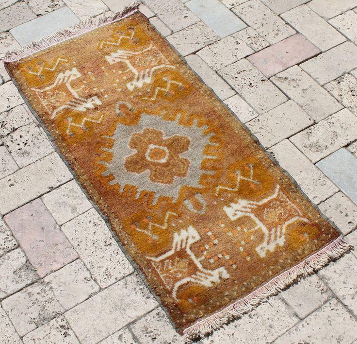 Turkish Rug 17''x37'' Hand Woven Kirsehir Mini Carpet 45x96cm #Turkish