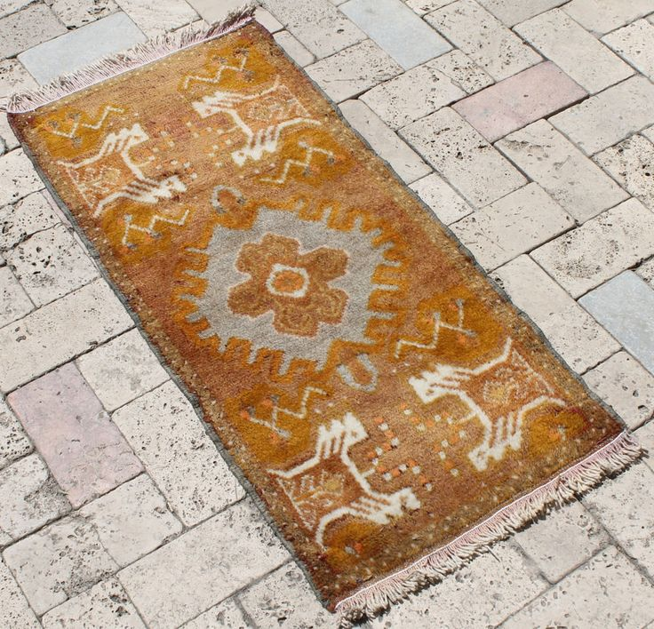 Turkish Rug 17''x37'' Hand Woven Kirsehir Mini Carpet 45x96cm #Turkish