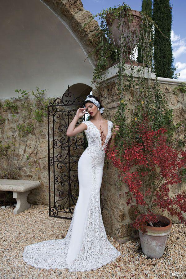berta bridal 2015 beautiful lace cap sleeve wedding dress deep v neckline