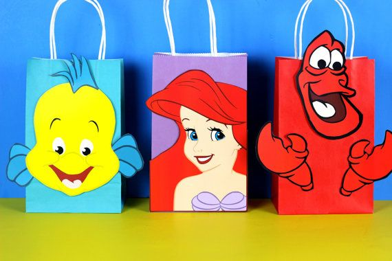 DIY Little Mermaid Party Favor Bags.  Simply Download, Print, Cut and Paste. Print as many copies as you need.