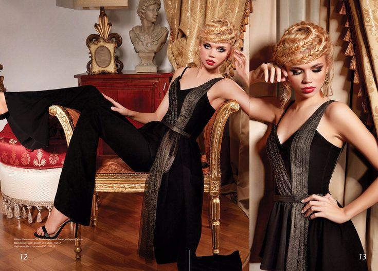 #blackoutfit #gold #black #trousers #flaredtrousers #flaredpants #blouse #black #allinblack #fashion #collection #2017 #2018