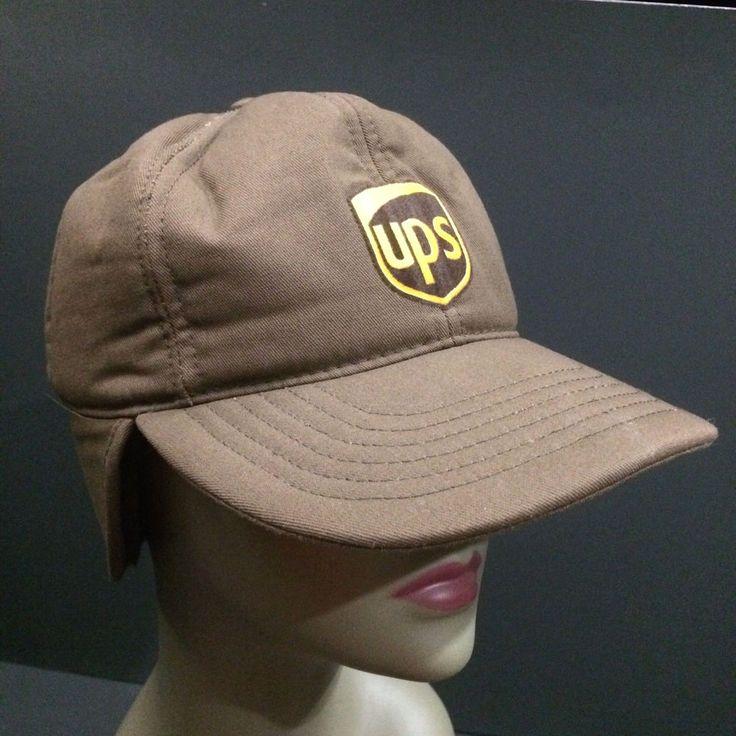 United Parcel Service UPS Hat Brown Fold Down Ear Faux Fur Flap Winter Hat #riverside #TrapperHat