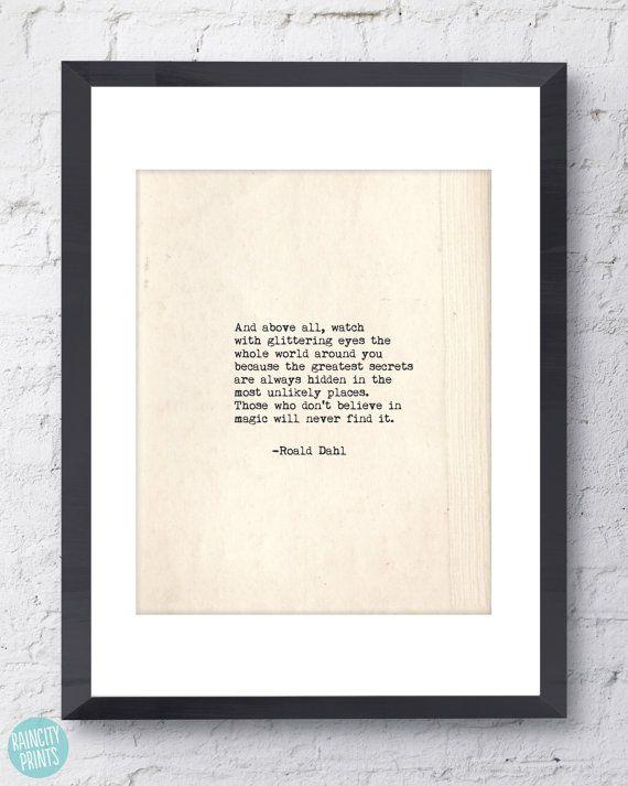 Roald Dahl Quote. Inspirational Art. Typographic by raincityprints