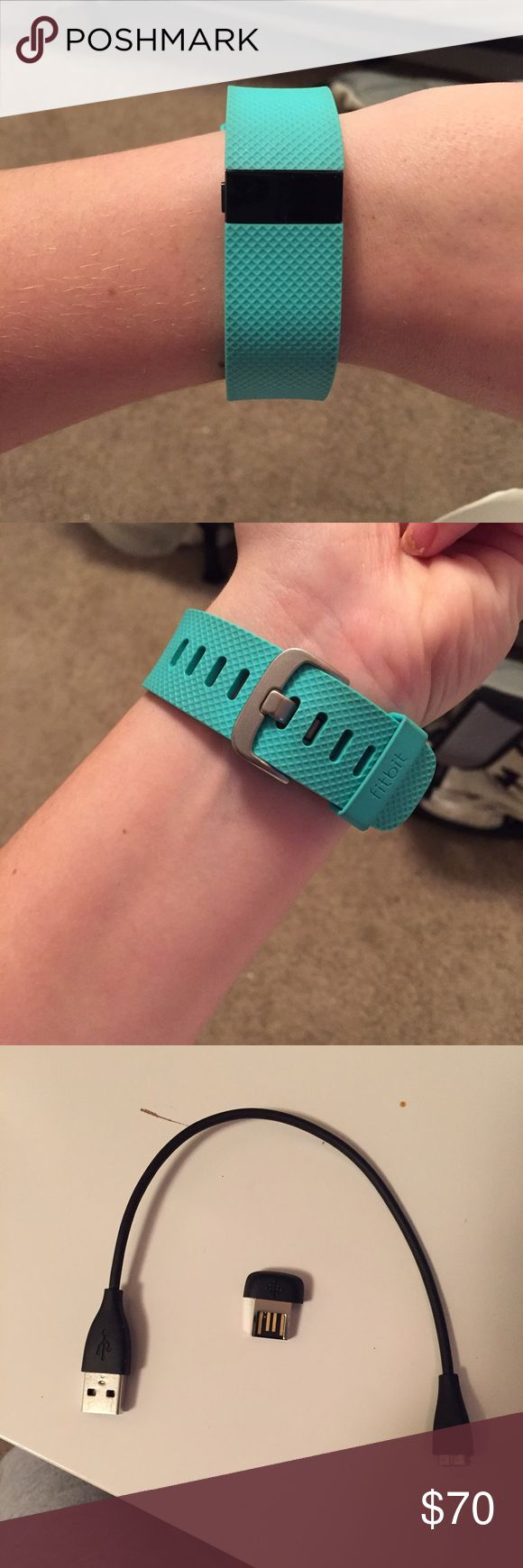 Fitbit Charge HR Teal, Small, Like New Fitbit charge HR. Size small band. Bought in mid-October so it's like new. Comes with original charger cable, toggle, and box with all instructions and pamphlets in the box. This is the older generation Charge HR but it has step count, calories burned, floors climbed, heart rate, and a timer that can be turned on and used on the watch. It also has a watch and four different watch faces that you can choose from. Will accept all reasonable offers! Fitbit…