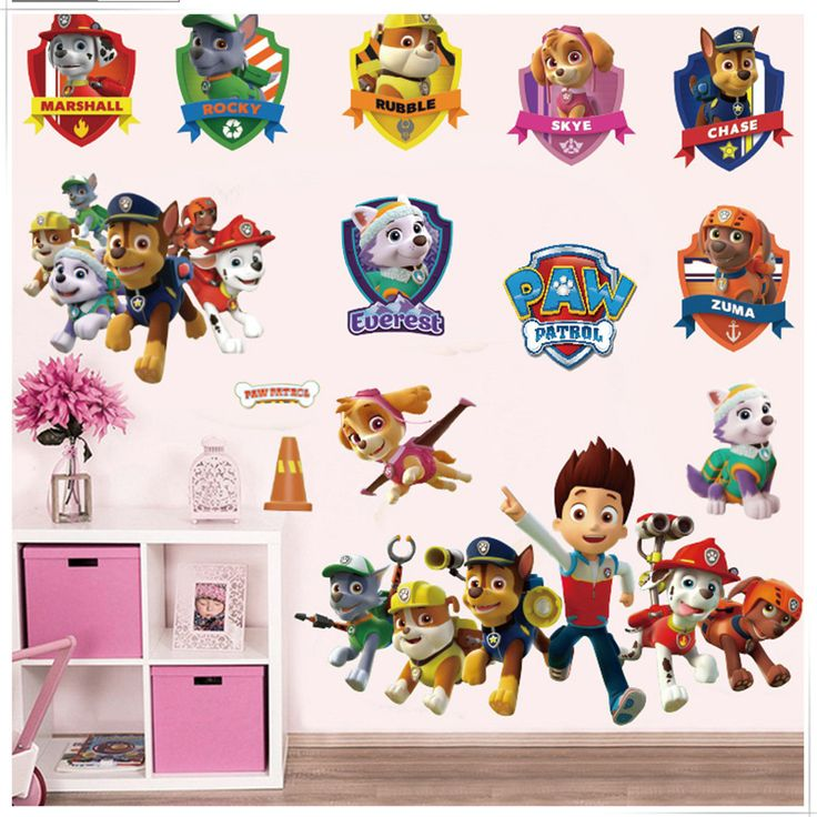 3D Dogs Cartoon Wall Stickers Paws Patrols Wall Decals Adesivos De Paredes Animal Mural Creative DIY For Kids Rooms Decor QT090