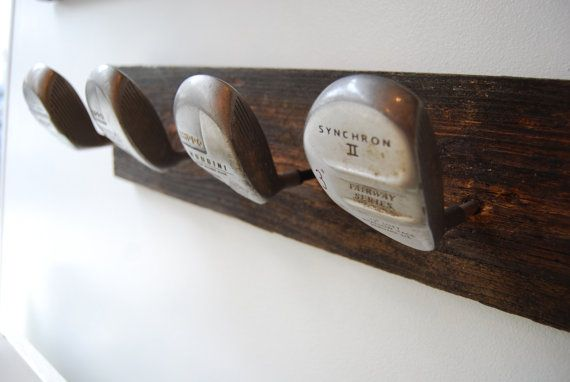 Upcycled Golf Club Coat Rack made with reclaimed wood and vintage clubs