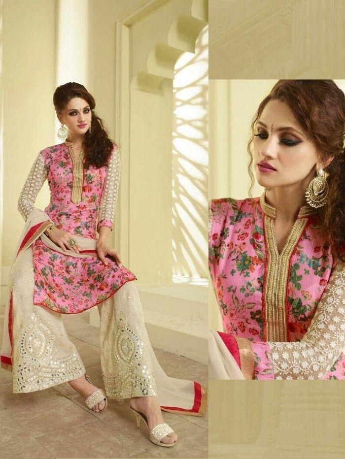 RapidDukan Un-Stitched Light Pink Color Salwar Suit Dupatta Material||SF608