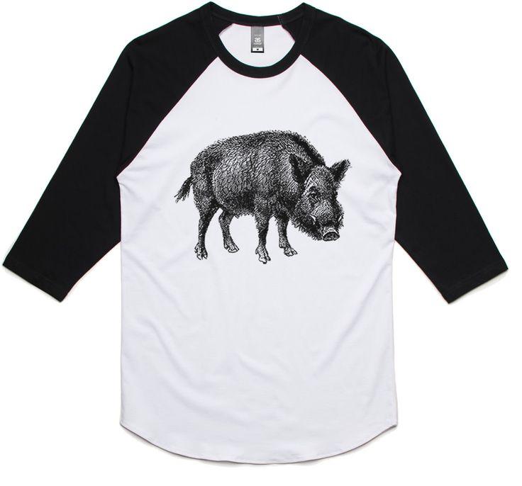 theIndie Wild Boar (Black) 3/4-Sleeve Raglan Baseball T-Shirt