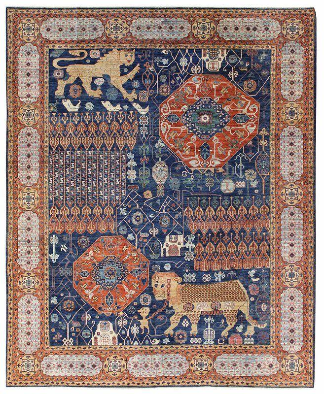 Lion Mamluk Design Hand Knotted Wool Blue Orange Indoor Area Rug