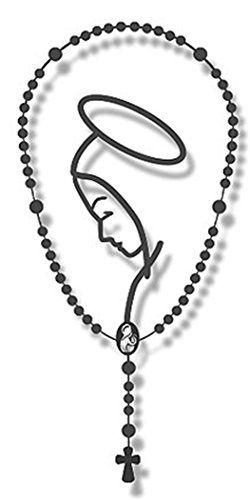 "Rosary Catholic Auto Metalic Car Decal Christian Virgin Mary Religious 4 3/4"""