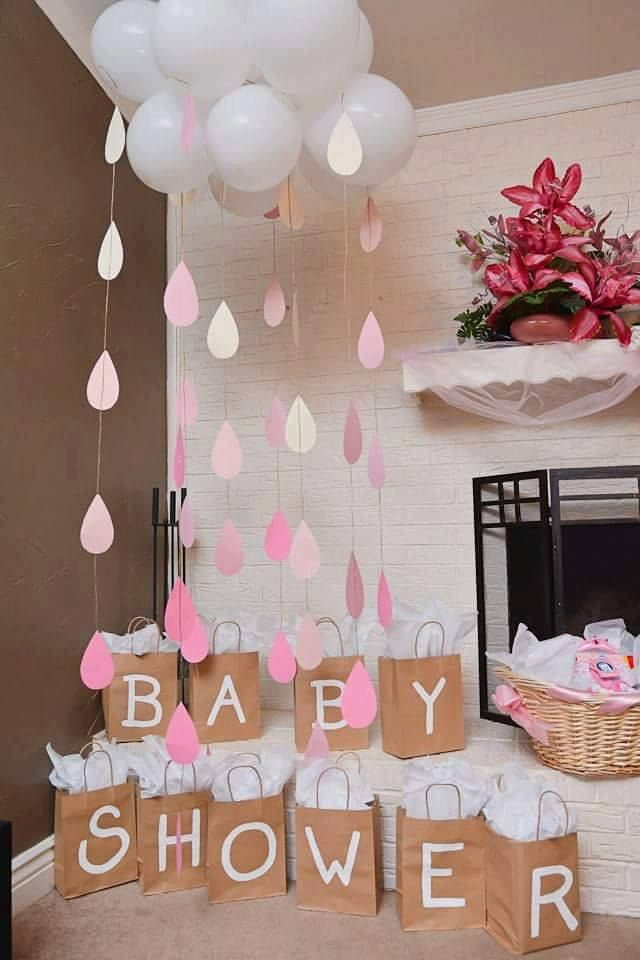 Baby shower or bridal shower cloud and raindrops beautiful to put next to your game prizes or next to the gifts area