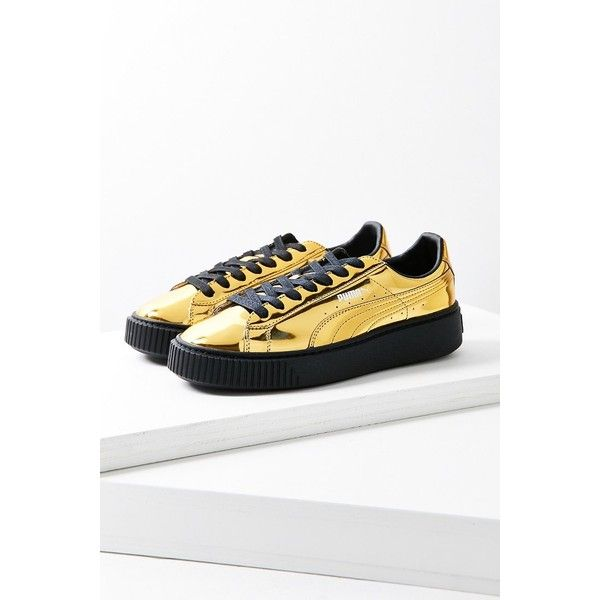 Puma Basket Metallic Platform Sneaker ($100) ❤ liked on Polyvore featuring shoes, sneakers, chunky platform shoes, low top platform sneakers, platform sneakers, metallic shoes and lace up shoes