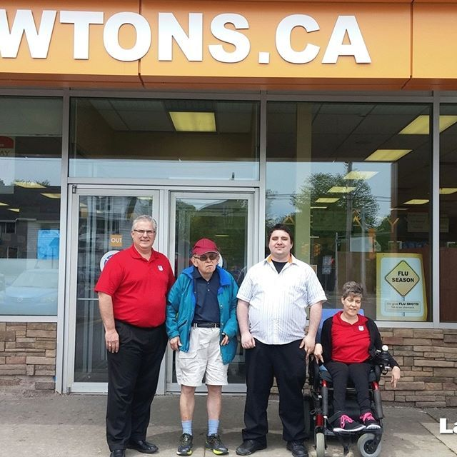 A photo of John (Interim President and CEO), Charles, Alex (Lawtons Duffus St.) and Sonya (Easter Seals NS Ambassador) at our Duffus Street location last month! Sonya and Charles visited to thank our staff for their amazing efforts with the Easter Seals Paper Egg campaign and to congratulate them on being the store with the highest percentage increase in sales of Paper Eggs this year!