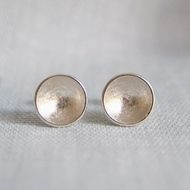 silver earring round studs circular domes