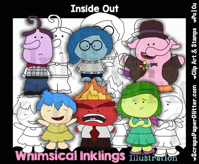 Inside Out Clip Art, BONUS Lineart, Commercial Use, Digital Stamps, Clipart, Black White, Disney Inspired, Movie, Emotions, Sad, Joy, Anger by ResellerClipArt on Etsy
