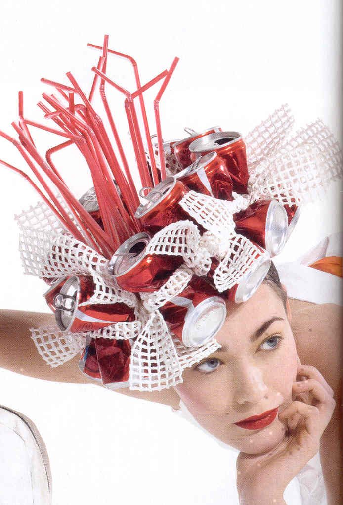 Recycled Hat - Project Runway Contestant.... Probably the silliest example ever .... Fun fun fun