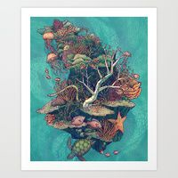 Art Print featuring Coral Communities by Kate O'Hara Illustration
