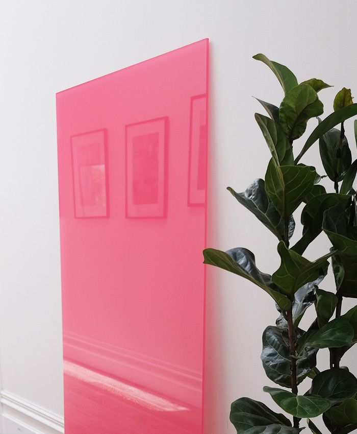 Watermelon Pink. Frameless Acrylic Whiteboard. Dry Erase. Custom PMS Colour. PMS 184. Wall Scrawl by decently exposed.