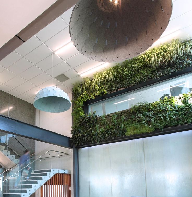 PLN Group Hush hood with LED lighting. Designed by David Trubridge. Shown in a large atrium to address acoustics.