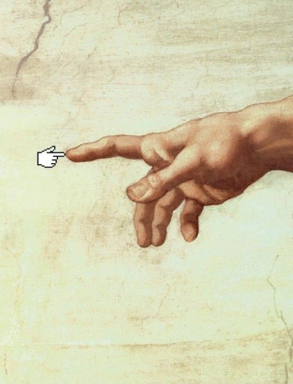 """Its hard to believe that the internet was only accessible to the masses since 1991. This image features the mouse icon replacing Adams in Michelangelo's painting """"The Creation of Adam"""". The mouse icon is significant because it replaces the human (Adam) and therefore represents the evolvement of man into the digital realm."""
