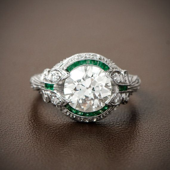 Rare and Pristine Art Deco Engagement Ring by EstateDiamondJewelry