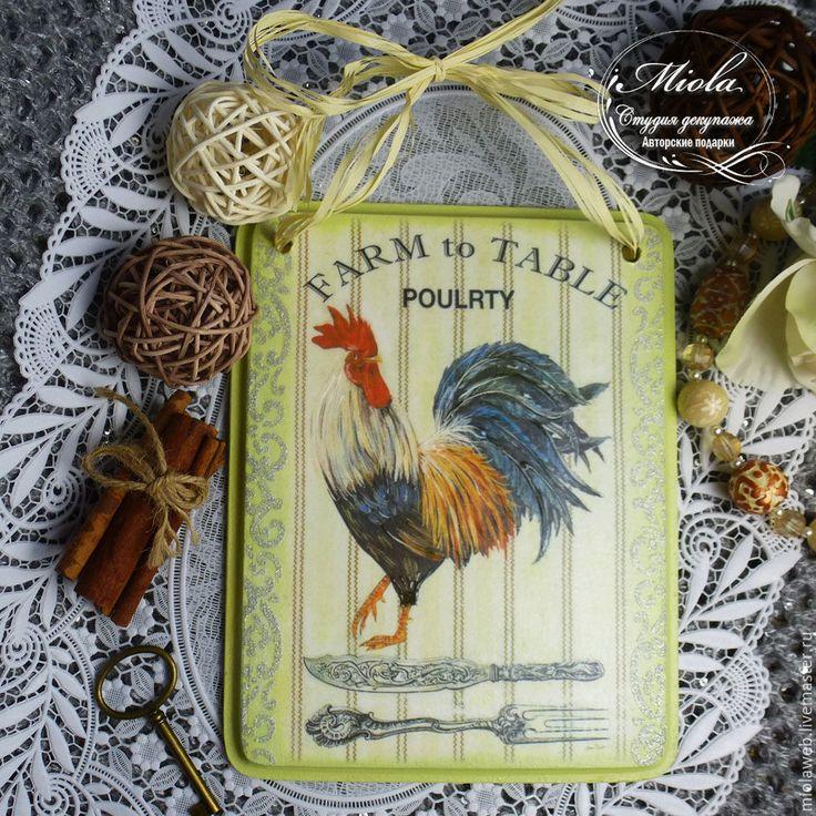 """Купить Панно интерьерное """"Farm to Table"""" - Декупаж, авторские подарки, панно настенное, ключница"""